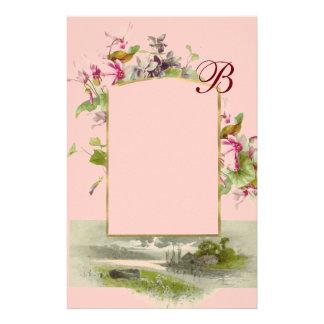 ROMANTİCA MONOGRAM / CYCLAMENS,pink green Stationery
