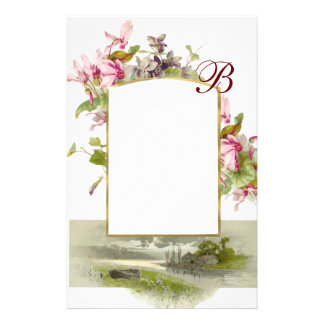 ROMANTİCA MONOGRAM / CYCLAMENS,pink green white Stationery