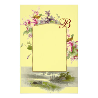 ROMANTİCA MONOGRAM / CYCLAMENS,pink green yellow Stationery