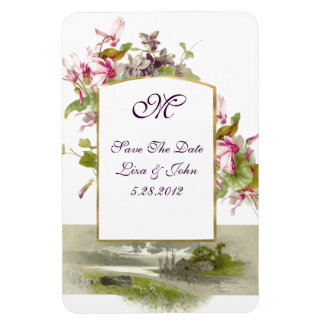 ROMANTİCA  MONOGRAM /CYCLAMENS,Save The Date,White Magnet