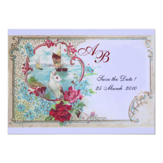 ROMANTICA  MONOGRAM Floral Pink Blue Wedding Party 5x7 Paper Invitation Card