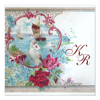 ROMANTİCA  MONOGRAM ,ice metallic paper 5.25x5.25 Square Paper Invitation Card