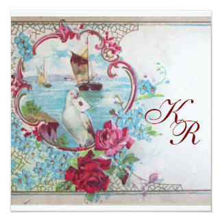 ROMANTİCA  MONOGRAM 5.25X5.25 SQUARE PAPER INVITATION CARD