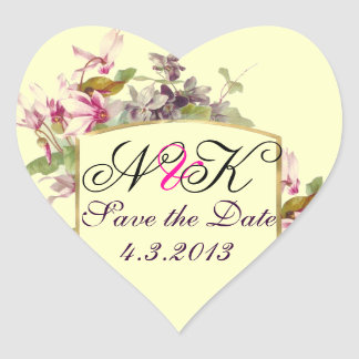 ROMANTİCA MONOGRAM / PINK CYCLAMENS SAVE THE DATE HEART STICKER