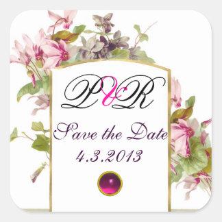 ROMANTİCA MONOGRAM / PINK CYCLAMENS SAVE THE DATE SQUARE STICKER