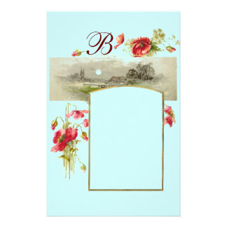 ROMANTİCA MONOGRAM / POPPIES,red,green blue Stationery