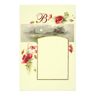 ROMANTİCA MONOGRAM / POPPIES,red,green,cream Stationery