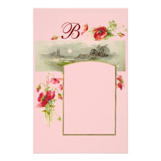 ROMANTİCA MONOGRAM / POPPIES,red,green pink Stationery
