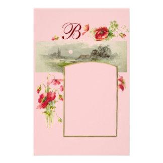 ROMANTİCA MONOGRAM / POPPIES,red,green pink Stationery