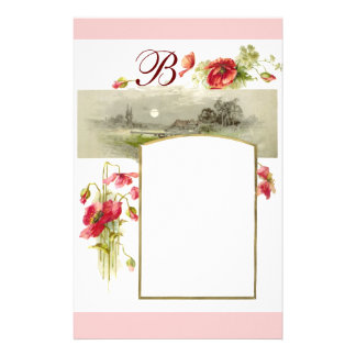 ROMANTİCA MONOGRAM / POPPIES,red,green pink white Stationery