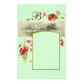ROMANTİCA MONOGRAM / POPPIES,red,green Stationery