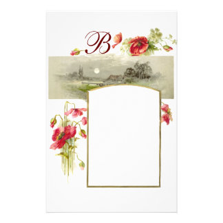 ROMANTİCA MONOGRAM / POPPIES,red,green,white Stationery