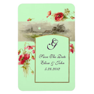 ROMANTİCA  MONOGRAM /POPPIES,Save The Date,Green Magnet