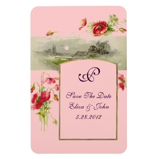 ROMANTİCA  MONOGRAM /POPPIES,Save The Date,Pink Magnet