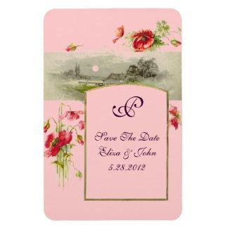 ROMANTİCA  MONOGRAM /POPPIES,Save The Date,Pink Rectangular Photo Magnet