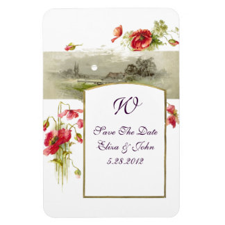 ROMANTİCA  MONOGRAM /POPPIES,Save The Date,White Magnet
