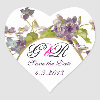 ROMANTİCA MONOGRAM / PURPLE VIOLETS SAVE THE DATE HEART STICKER
