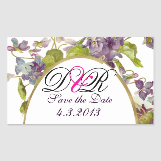 ROMANTİCA MONOGRAM / PURPLE VIOLETS SAVE THE DATE RECTANGULAR STICKER