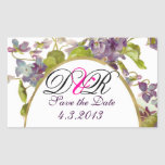ROMANTİCA MONOGRAM / PURPLE VIOLETS SAVE THE DATE RECTANGLE STICKERS