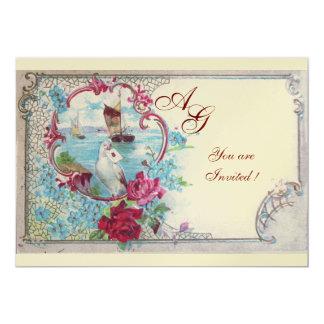 ROMANTICA  MONOGRAM, red blue pink white champagne 5x7 Paper Invitation Card