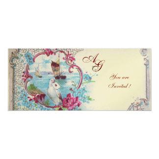 ROMANTICA  MONOGRAM, red blue pink white champagne 4x9.25 Paper Invitation Card