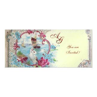 ROMANTICA  MONOGRAM, red  blue pink white ice 4x9.25 Paper Invitation Card