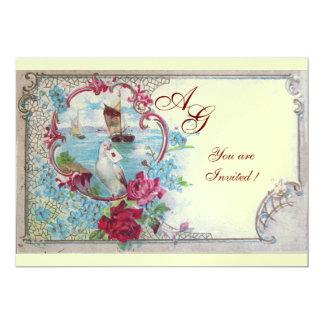 ROMANTICA  MONOGRAM, red blue pink white ice 5x7 Paper Invitation Card