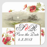 ROMANTİCA MONOGRAM / RED POPPIES SAVE THE DATE STICKERS