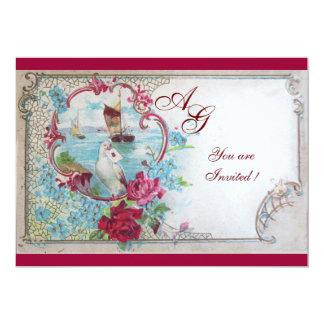 ROMANTICA  MONOGRAM, red white blue 5x7 Paper Invitation Card