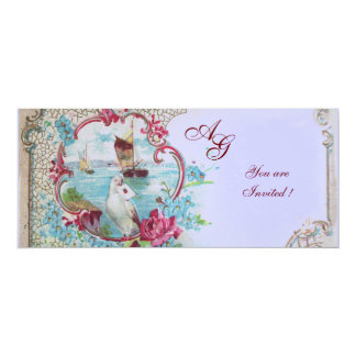 ROMANTICA  MONOGRAM, red white blue pink Card