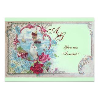 ROMANTICA  MONOGRAM, red white blue pink green 5x7 Paper Invitation Card