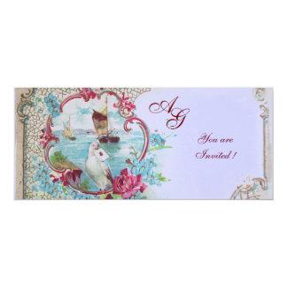 ROMANTICA  MONOGRAM, red white blue pink 4x9.25 Paper Invitation Card