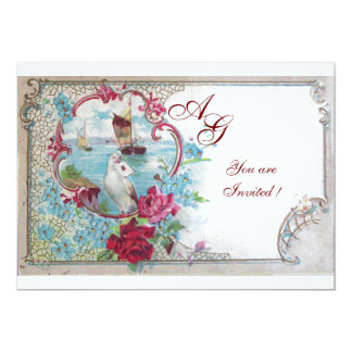 ROMANTICA  MONOGRAM, red white blue pink 5x7 Paper Invitation Card