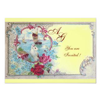 ROMANTICA  MONOGRAM, red white blue pink yellow 5x7 Paper Invitation Card