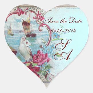 ROMANTICA MONOGRAM,Save the Date,blue Heart Sticker