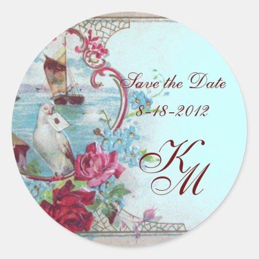 ROMANTICA MONOGRAM,Save the Date,blue Round Stickers