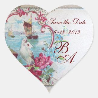 ROMANTICA MONOGRAM,Save the Date Heart Sticker