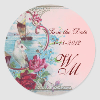 ROMANTICA MONOGRAM,Save the Date,pink Classic Round Sticker