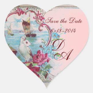 ROMANTICA MONOGRAM,Save the Date,pink Heart Sticker