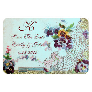 ROMANTİCA  MONOGRAM ,Save The Date Rectangle Magnet