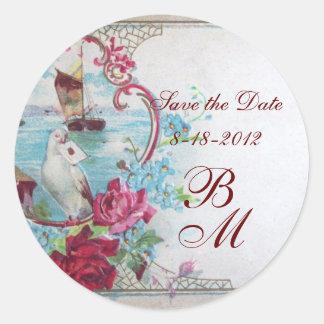 ROMANTICA MONOGRAM,Save the Date,white Classic Round Sticker