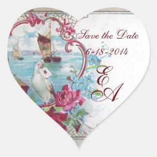 ROMANTICA MONOGRAM,Save the Date,white Heart Sticker