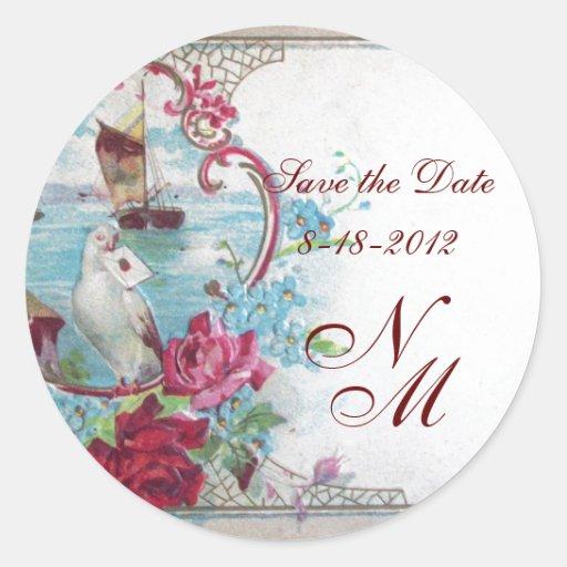 ROMANTICA MONOGRAM,Save the Date,white Round Sticker