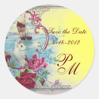ROMANTICA MONOGRAM,Save the Date,yellow Classic Round Sticker