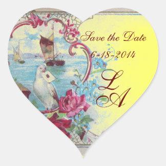ROMANTICA MONOGRAM,Save the Date,yellow Heart Sticker