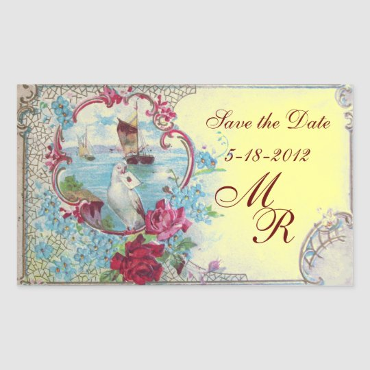 ROMANTICA MONOGRAM,Save the Date,Yellow Rectangular Sticker