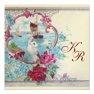 ROMANTİCA  MONOGRAM Teal Blue Gold Wedding 5.25x5.25 Square Paper Invitation Card