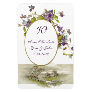 ROMANTİCA  MONOGRAM /VIOLETS,Save The Date,White Magnet