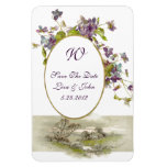 ROMANTİCA  MONOGRAM /VIOLETS,Save The Date,White Rectangle Magnet