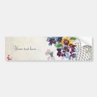 ROMANTICA Pansies Pink Blue White Wedding Floral Bumper Sticker